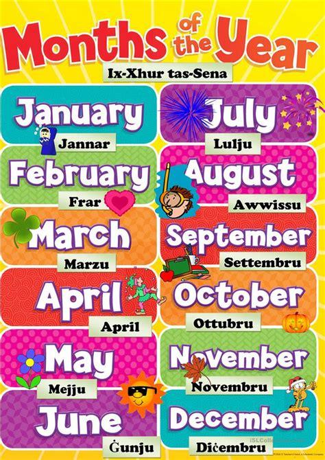 months   year worksheet  esl printable