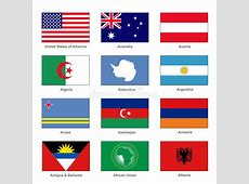World Flags Set Name Country Of Letter A Vector Stock