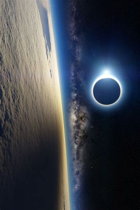 Earth The Milky Way Sun Being Eclipsed Moon