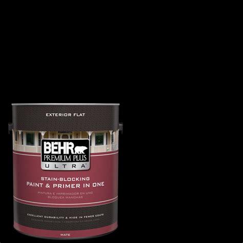 behr premium plus ultra 1 gal black flat exterior paint