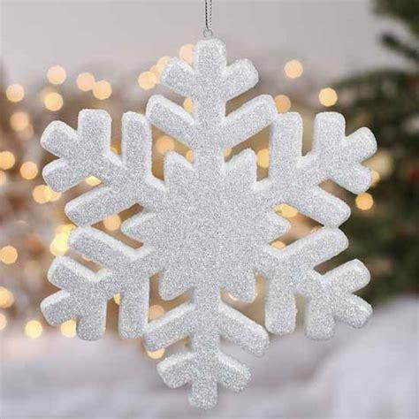 White Glittered Snowflake Ornament Christmas Ornaments