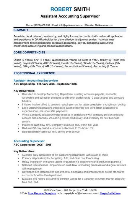 accounting supervisor resume samples qwikresume