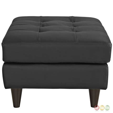 Leather Tufted Ottoman by Empress Upholstered Leather Ottoman With Button Tufted