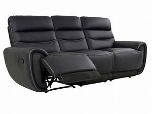 canape 32 places relax cuir noir coutures blanches cosmy With canapé cuir couture apparente