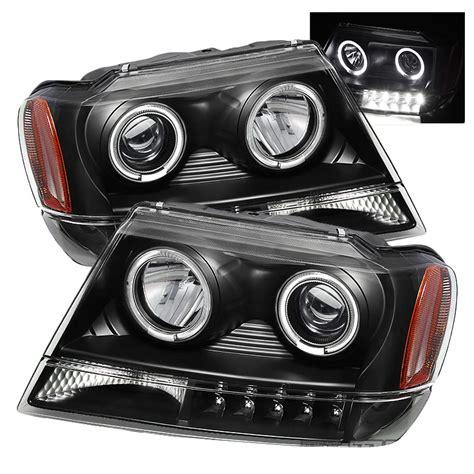 jeep black headlights 99 04 jeep grand cherokee angel eye halo led projector