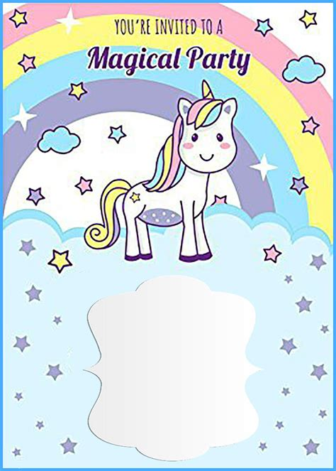 unicorn  printable  birthday invitation template