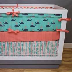 nautical crib bedding baby girl nursery coral navy mint