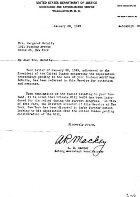 1949-01-28 INS-Schmitz Letter - German American Internee