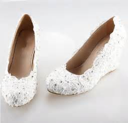 ivory wedge wedding shoes 2014 white iory lace wedge handmade lace bridal by angelblingbox