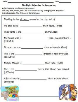 adjectives worksheets for grade 1 2 by rituparna reddi tpt