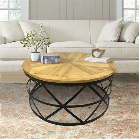 round industrial coffee table industrial reclaimed wood round coffee table dmt 085 the