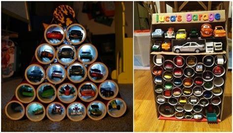 toilet paper roll toy car garage organizer ideas