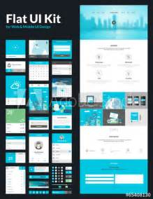 one page website design template flat ui kit buy this stock vector and explore similar