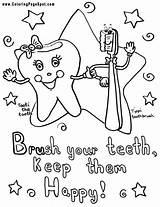 Dental Coloring Teeth Pages Hygiene Health Care Preschool Drawing Week sketch template
