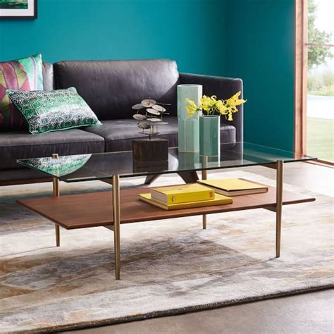 Glass top shelf, mirrored bottom shelf. Terrace Side Table in 2020 (With images) | Coffee table, Display coffee table, West elm coffee table