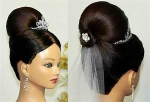 Bridal Updo Bun hairstyle for medium long hair YouTube