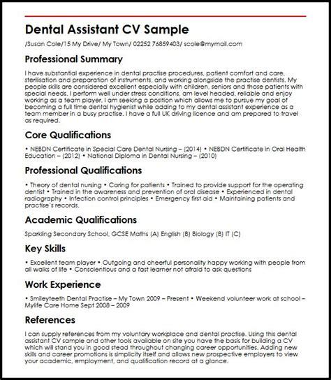 curriculum vitae for dental assistant dental assistant myperfectcv