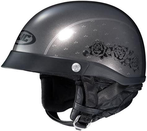 ladies motorcycle helmet hjc womens cl ironroad black rose motorcycle half helmet