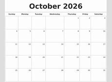 October 2026 Blank Monthly Calendar