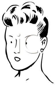 retro cartoon   woman   updo hairstyle