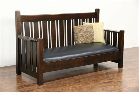 leather settee bench sold arts crafts mission oak 1905 antique leather