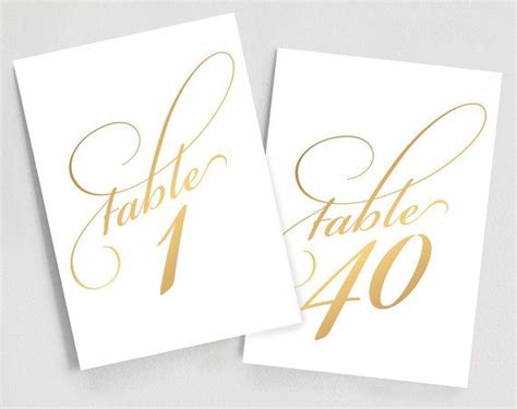 wedding table numbers gold table numbers script table