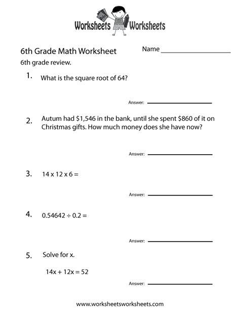 6 Grade Math Worksheets  Sixth Grade Math Practice Worksheet  Free Printable Educational