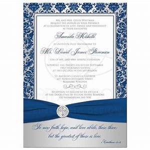 Christian Wedding Invitation Royal Blue, Silver Damask