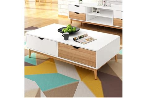 It can also be used as a fabulous side table and you can even stack up several suitcases to create a cool focal. 2 Drawers Modern Coffee Table White Oak Storage Interior ...