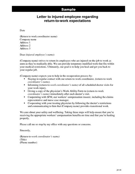 return to work letter template best photos of return to work note return to work letter sle return to work letter