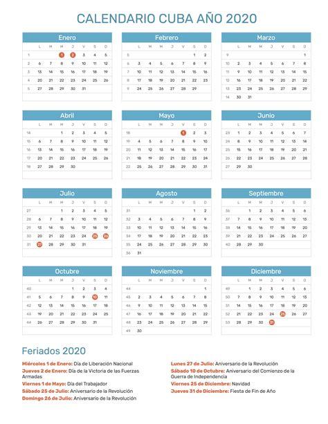 calendario de cuba ano feriados