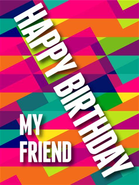 modern art happy birthday card  friends birthday