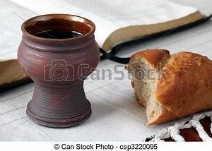 Stock Images of Communion - Chalice with red wine, bread ...