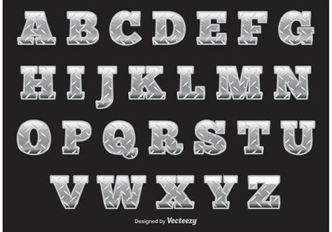 diamond plate alphabet   vector art stock graphics images