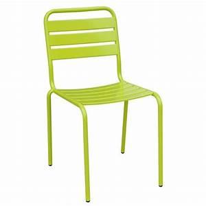 Chaise De Jardin Metal : chaise de jardin empilable evora metal vert achat ~ Dailycaller-alerts.com Idées de Décoration