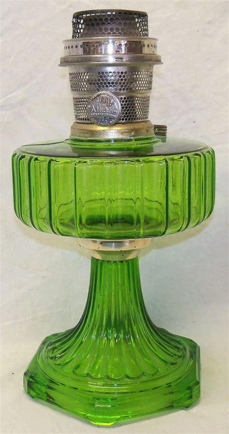 kerosene l model b antique green glass corinthian pattern model b