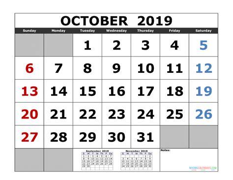 october  printable calendar templates