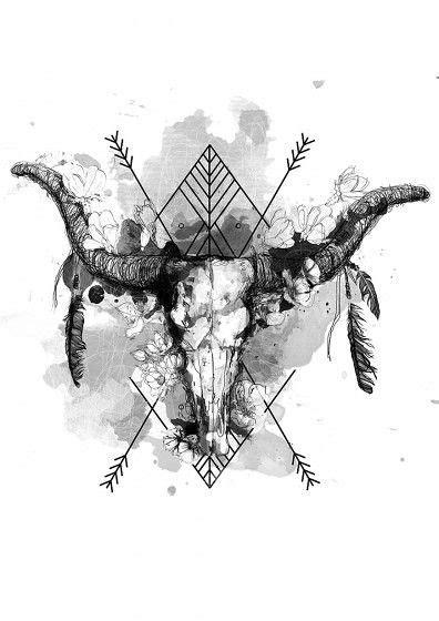 Oliwia   Art, Bull skull tattoos, Drawings