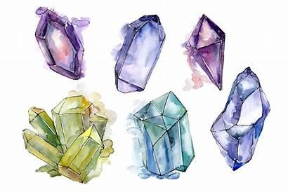 Crystals Mineral Crystal Aquarelle Illustrations Gem Drawings
