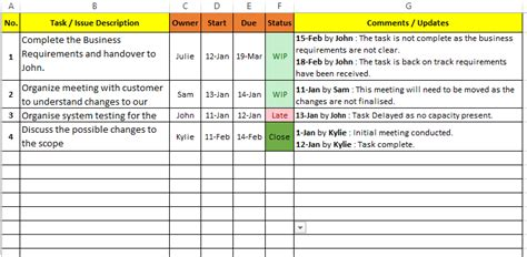 excel project management tracking sheet templates