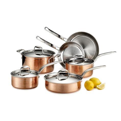 lagostina martellata  piece hammered copper tri ply cookware set qsa  home depot