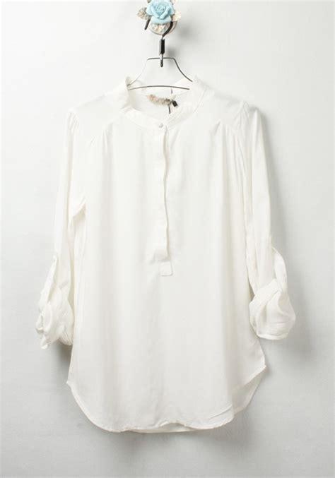 cotton blouses white plain buttons thin cotton blend blouse blouses tops