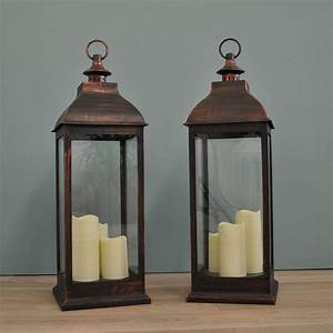 Two, Firenze, Battery, Operated, Candle, Lanterns, In, Copper, By, Garden, Selections