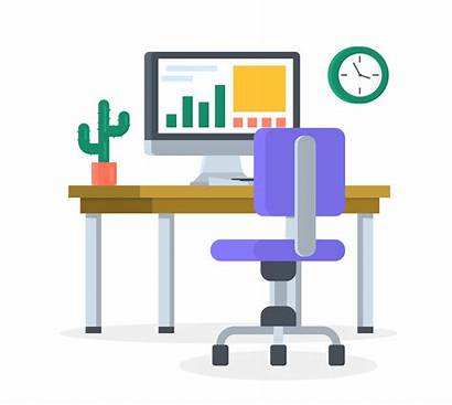 Desk Office Vector Flat Station Clipart Graphics