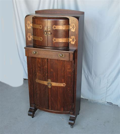 vintage oak liquor cabinet bargain s antiques mission oak liquor cabinet 6853