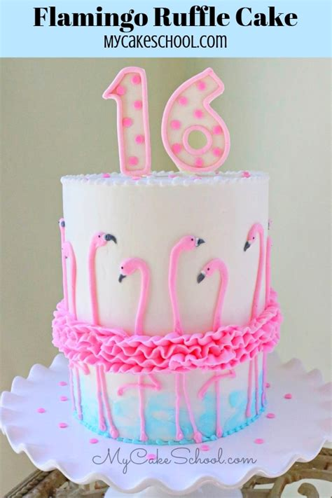 flamingo ruffle cake  cake decorating video tutorial