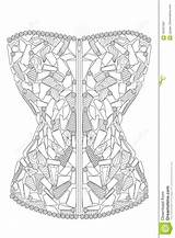 Corset Coloring Adults Diamonds Illustration Vector Therapy Line Royalty sketch template