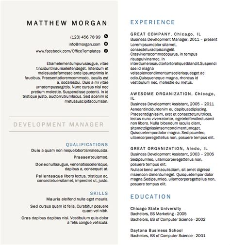 Formal Resume Template by Free Resume Creative Formal Microsoft Word