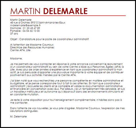 exemple lettre de motivation coordinateur administratif