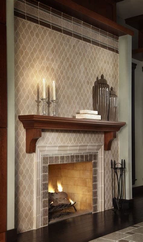 image  outstanding ceramic tile  brick fireplace